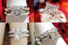 0.65CT Princess Diamond Engagement Ring/Band Cert/Appr $3,100