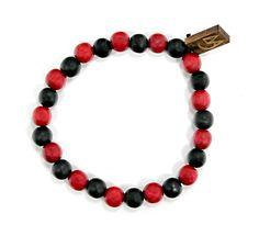 Two Tone Bracelet in Black & Cranberry $10.00 #woodenbracelet #woodbracelet #goodwoodnyc #Woodjewelry #beadedbracelet