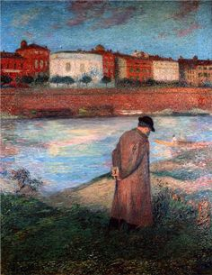 """""""I need to be alone. I need to ponder my shame and my despair in seclusion; I need the sunshine and the paving stones of the streets without companions, without conversation, face to face with myself, with only the music of my heart for company."""" (Henry Miller, Tropic of Cancer)  Art: Le Poete, Henri Martin"""