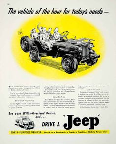 1946 Ad Jeep Willys-Overland Yellow Family Vehicle Classic Automobile Runabout | eBay