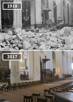 Before & After Pics Showing How The World Has Changed Over Time By Re Photos Then And Now Pictures, Before And After Pictures, Ww1 Pictures, Cool Pictures, Hospital Architecture, Art And Architecture, Tour Eiffel, St Gervais, Places