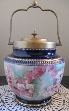 ANTIQUE-BISCUIT-COOKIE-JAR-PORCELAIN-W-WOOD-CO-ENGLAND