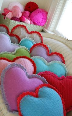 crochet borders, cushion, crochet edgings, knit sweater, recycled sweaters, valentine day gifts, felted wool, heart pillow, pillows