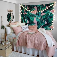 Pink and Grey and White Dorm Room Inspiration. Beach vibes Pink and Grey and White Dorm Room Inspiration.