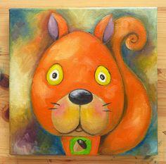 Squirrel Portrait Original Art Animals Oil on by MikiMayoShop