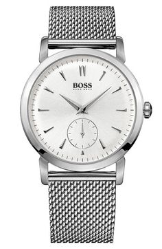 BOSS HUGO BOSS Round Mesh Strap Watch, 40mm available at #Nordstrom