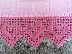graficos de coração em chochê para toalhas