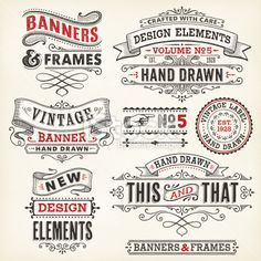 Vintage Graphic Design Banners and Frames Hand Drawn Royalty Free Stock Vector Art Illustration - Set of ornate hand drawn design elements.File is grouped and layered with global colors.More works like this linked below. Vintage Frames, Rotulação Vintage, Vintage Labels, Graphics Vintage, Vintage Graphic, Vintage Fonts Free, Vintage Logos, Logo Design, Lettering Design