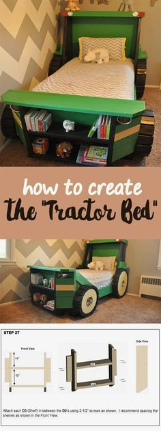 This Tractor Bed Plan is perfect for a toddler farm themed (or construction themed) room! Help your little boy or girl transition from the crib into a bed he or she will actually enjoy sleeping in. Imagine that. Kids Bedroom Boys, Kids Bedroom Furniture, Small Room Bedroom, Boy Room, Bedroom Decor, Small Rooms, Furniture Ideas, Bedroom Crafts, Kid Bedrooms