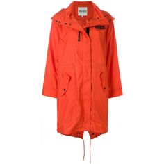 Kenzo oversized rain coat (705 CAD) ❤ liked on Polyvore featuring outerwear, coats, patch coat, oversized hooded coat, kenzo coat, red coat and red rain coat