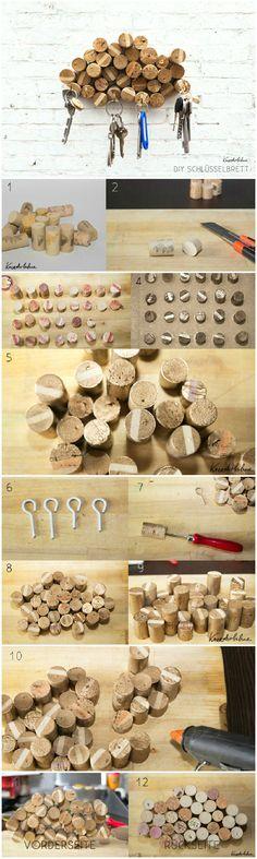 Gaderobe aus alten Korken! Coole und simple Idee zum Selbermachen!
