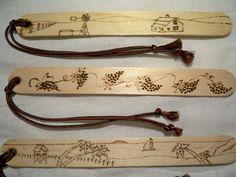 Bookmarks Set of 3 Wood Burned Windmill Grape by ThreeBarDGifts