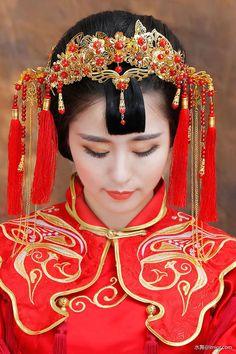 水舞新娘原創紅色流蘇中式新娘鳳冠霞帔古裝頭飾