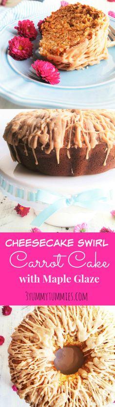 Cheesecake Swirl Carrot Cake with Maple Glaze |