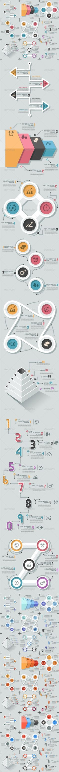 Business infographic : Set Of 8 Flat Infographic Options Templates #design Download: graphicriver.net/.