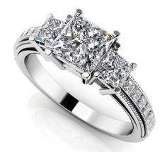 Dazzling Princess Cut Engagement Ring