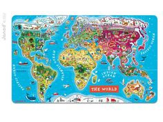 Encourage your child to discover and learn about the world with Janod's Magnetic World Puzzle. Designed in France, this x puzzle has continents, countries, and animals. World Map Puzzle, Continents And Oceans, Boost Creativity, Country Names, Educational Games, Cool Toys, Montessori, Board Games, Learning
