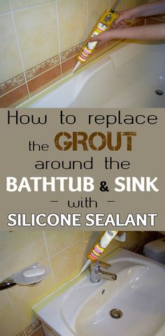 Learn how to replace the grout around the bathtub and sink with silicone sealant.