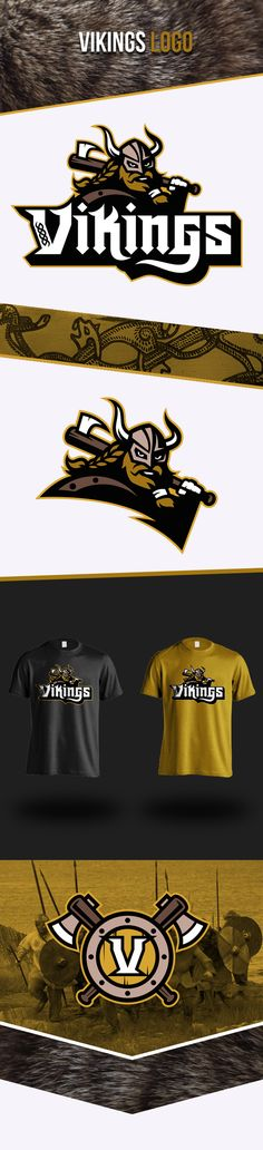 sports design and marketing graphics VIKINGS on Behance Shirt Print Design, Graphic Design Print, Typography Logo, Logo Branding, Vikings, Fantasy Logo, Inspiration Logo Design, Viking Logo, Sports Team Logos