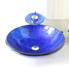 彩色上絵洗面ボウル&蛇口セット 洗面台 手洗い器 強化ガラス製 排水金具付 青色 円形