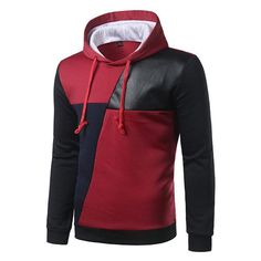 Mens Fall Winter Stitching Color Patchwork Hip-Hop Casual Sport Hooded Tops