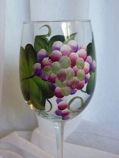 Grapes Hand Painted Wine Glasses by TheGardenPot999 on Etsy