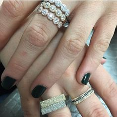 Just getting back with a fresh Sunday stack! SHOP NOW at www.jenkdesignsny.com #backtowork #homesweethome #rings #diamond #bands #square #stack #mothersday #love