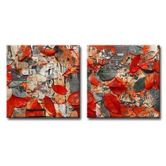 """Ready2hangart Fall Ink XXIV 2 Piece Graphic Art on Wrapped Canvas Set Size: 30"""" H x 30"""" W x 1.5"""" D"""