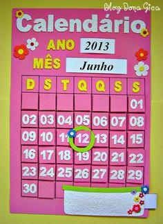 PASO A PASO:                                   OUTRAS IDEAS:                                                                             ... Felt Crafts Diy, Crafts To Make, Paper Crafts, School Calendar, Kids Calendar, Calendar Board, Calendar Bulletin Boards, Calendar Activities, Class Decoration
