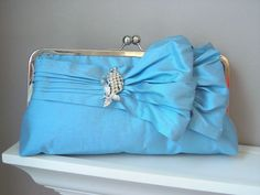 Jasmine Bridal Double-Bow Clutch in Robin's Egg Blue