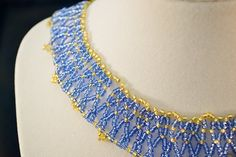 Blue and Gold Beaded Collar Necklace Blue by FrenchRobinDesigns