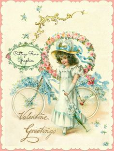 Vintage Valentine Greetings Large digital by CottageRoseGraphics