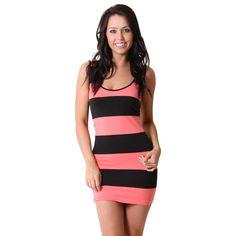 Striped Body Con #Dress in #Coral