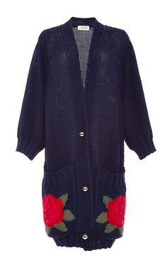 Navy Bracelet Sleeve Rose Sweater by TAK.ORI for Preorder on Moda Operandi
