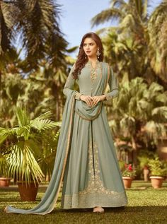 RAAZI D.NO.-20022 RATE: 2290 - RAMA RAAZI VOL 7  20017 TO 20024 SERIES  WHOLESALE SOFT GEORGETTE DESIGNER HEAVY EMBROIDERY PARTY WEAR SUITS COLLECTION AT WHOLESALE RATE AT DSTYLE ICON FASHION CONTACT : +917698955723 - DStyle Icon Fashion