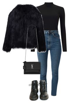 """Untitled #1535"" by morggz ❤ liked on Polyvore featuring Miss Selfridge, Yves Saint Laurent, WithChic and Dr. Martens"
