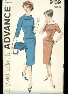 Vintage 1950's Advance 9139 Sewing Pattern Retro Dress w/Peplum Bust 38, mrspsbrain