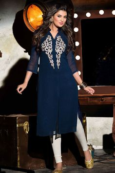 Show details for Fashionable party wear blue georgette kurti