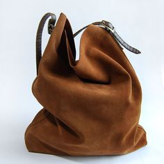 Brown suede leather tote by BeeChen on Etsy
