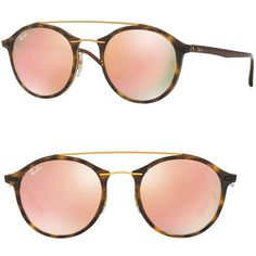 Ray-Ban Phantos Double-Bridge Mirrored Sunglasses ($215) ❤ liked on Polyvore featuring accessories, eyewear, sunglasses, apparel & accessories, retro round glasses, retro round sunglasses, mirror lens sunglasses, uv protection sunglasses and round mirrored sunglasses