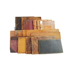 Collection of antique leather bound book boards / covers