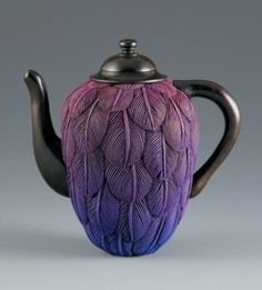 Oli-Pop Purple Feathered Teapot
