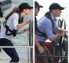 The Duke and Duchess of Cambridge competing against each other in a yacht race in Auckland, New Zealand, April 2014