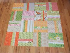 """Quilting Made Simple - U Create ***I used 8 FQs, and cut 10.5 x 12"""" rectangles instead of 11x13.  I dropped the 6"""" strip to 5"""".  Then squared the block up to 10x10"""". This way I could get two 10x12 rectangles out of each FQ."""