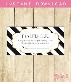 Instant Download Gold Glitter Baby Shower Diaper Raffle Gold Glitter Diaper RafflePrintable Baby Gold Door Prize Black and White Chevron by TppCardS #tppcards