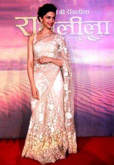 Deepika Padukone in Sari at 'Ram Leela' Trailer Launch Designer Sarees Wedding, Indian Designer Sarees, Indian Designer Wear, Wedding Sarees, Bridal Lehenga, Indian Sarees, Indian Dresses, Indian Outfits, Indian Clothes