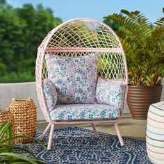 Free 2-day shipping. Buy Better Homes & Gardens Ventura Outdoor Kid's Stationary Egg Chair, Pink at Walmart.com Pink Outdoor Furniture, Wicker Furniture, Outdoor Chairs, Bali Furniture, Outdoor Spaces, Indoor Outdoor, Egg Styles, Hair Styles, Furniture Covers