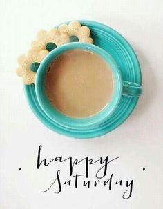 Saturday morning coffee. Yes- this is a happy place, only thing to make it better would be frosted pink and white animal cookies!