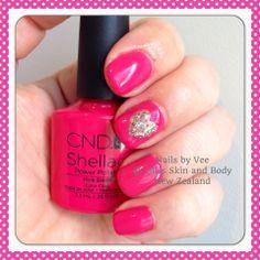 CND Shellac Pink Bikini with glitter heart detail.