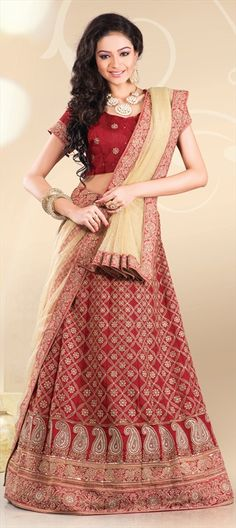 BRIDAL WEAR - check out this #Lehenga with busy embroidery.  #Paisley #bride #indianwedding #indianfashion #onlineshopping